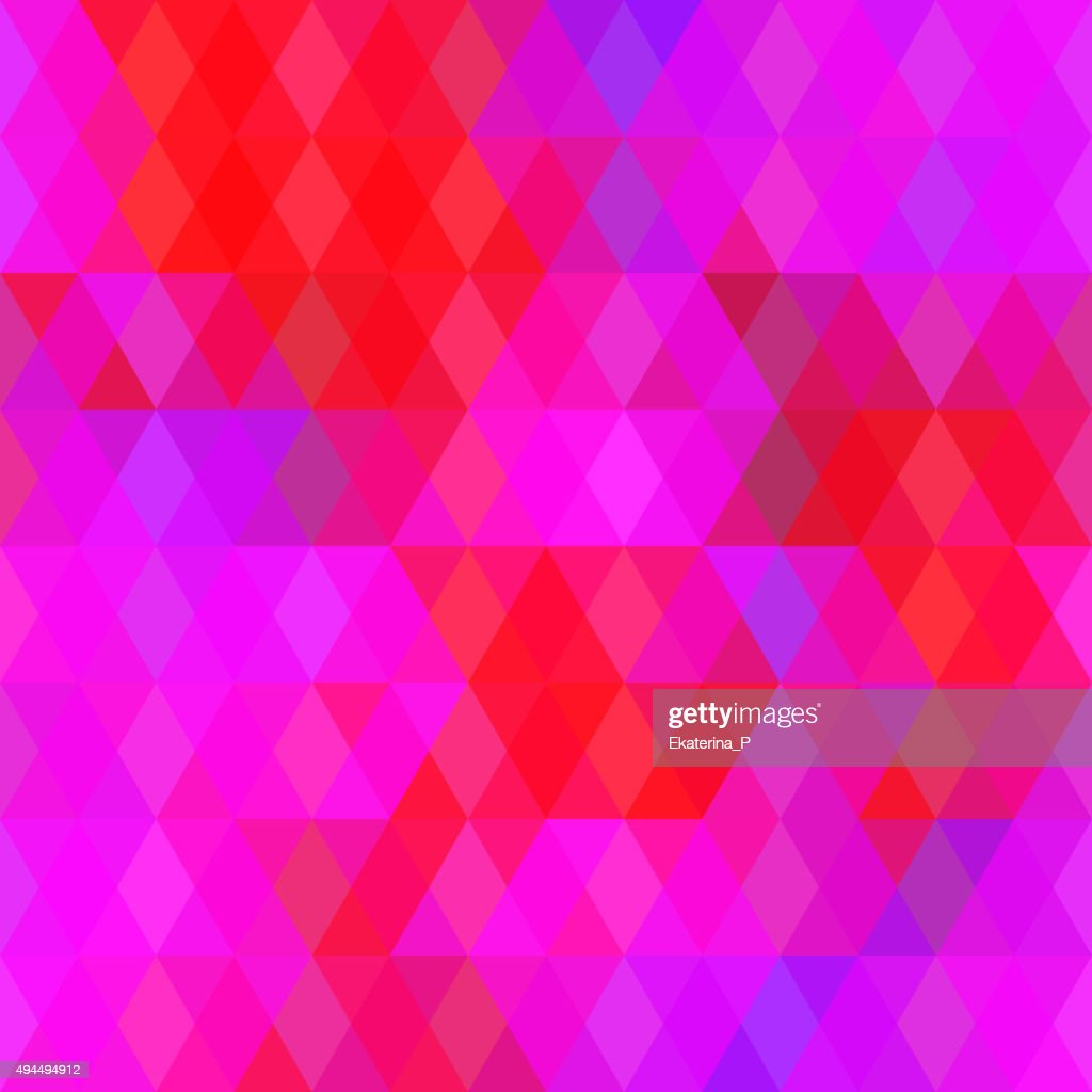 Abstract seamless pattern with bright colored rhombus. Geometric pink purple