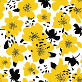 Abstract seamless pattern with isolated flowers silhouettes.