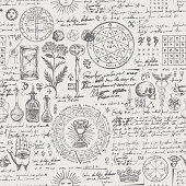 abstract seamless pattern with sketches and notes