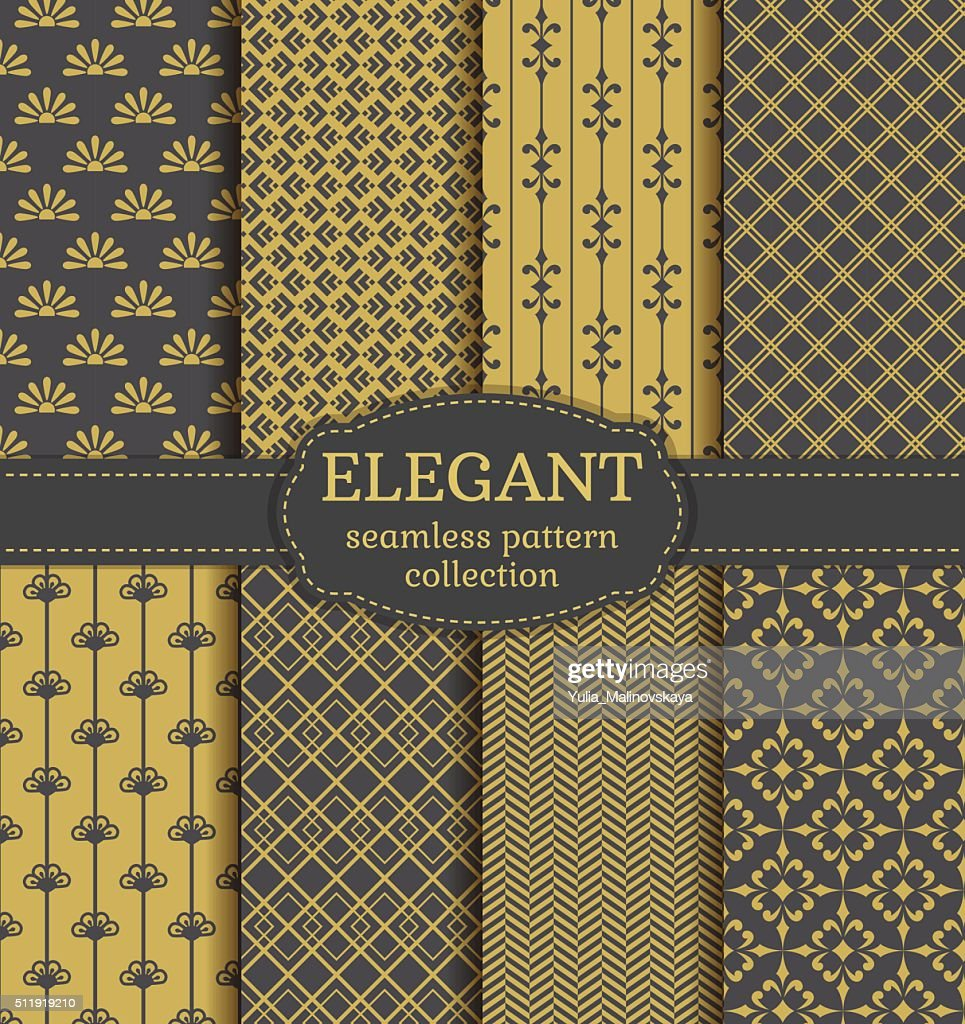 Abstract seamless patterns. Vector set.