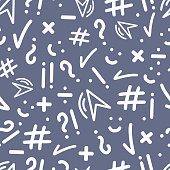 Abstract seamless patterns with punctuation marks, hashtag, check mark, smile, multiplication, division sign on dark blue backgroung. Hand drawn elemements for on-line communication, chatting.