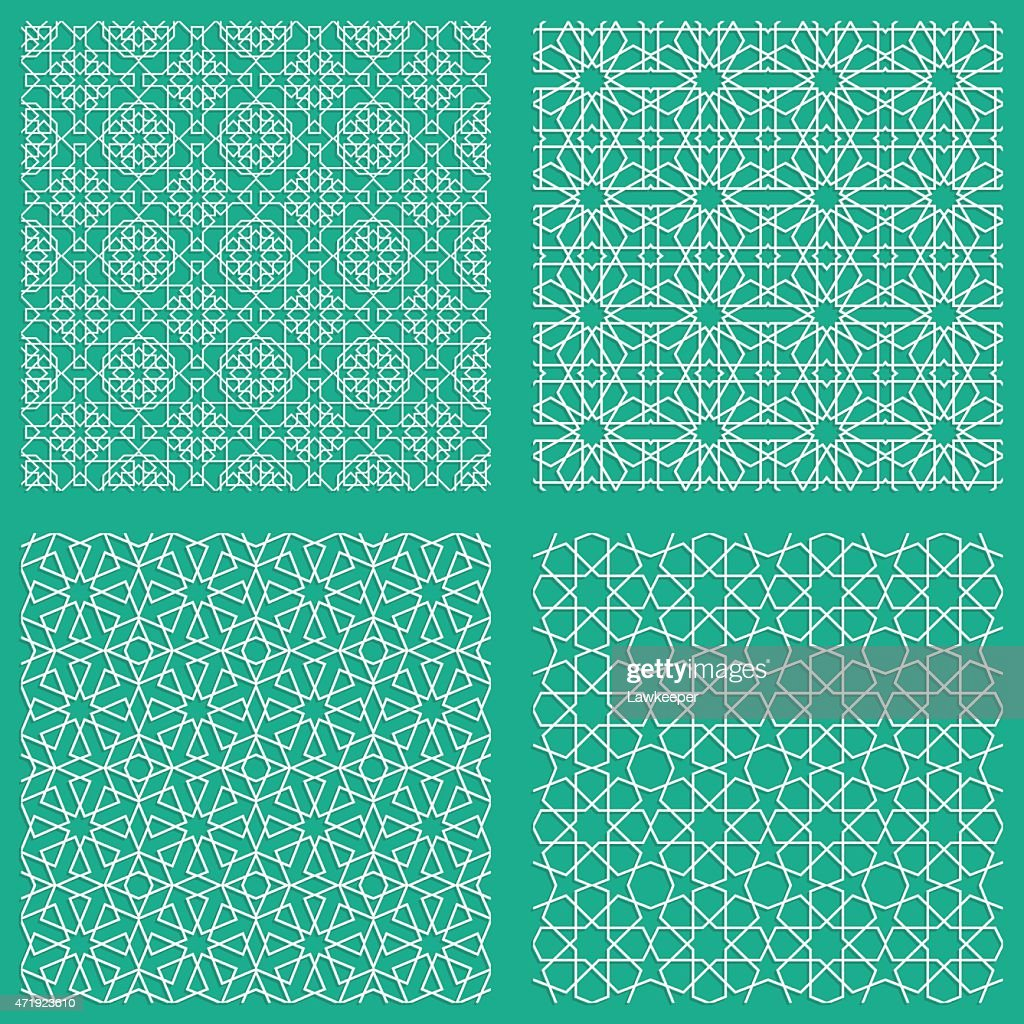 Abstract seamless traditional Arabian patterns in blue