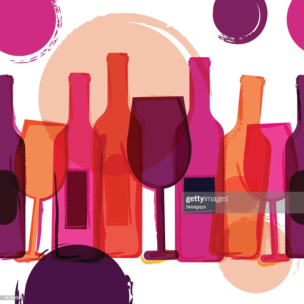 Abstract seamless vector background. Wine bottles, glasses and watercolor blots.