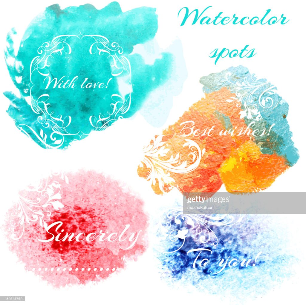 Abstract set with vector  watercolor spots and signatures