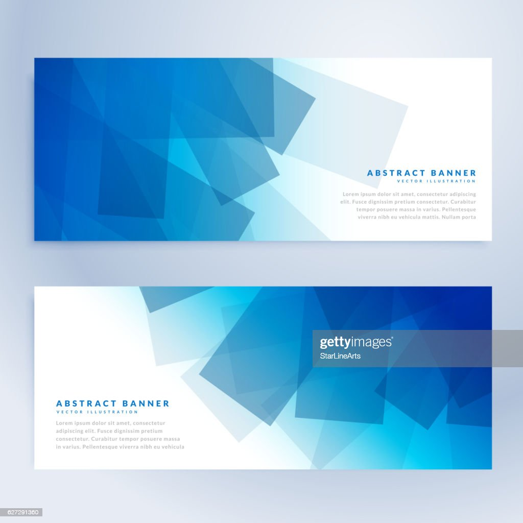 abstract shapes banners in blue color