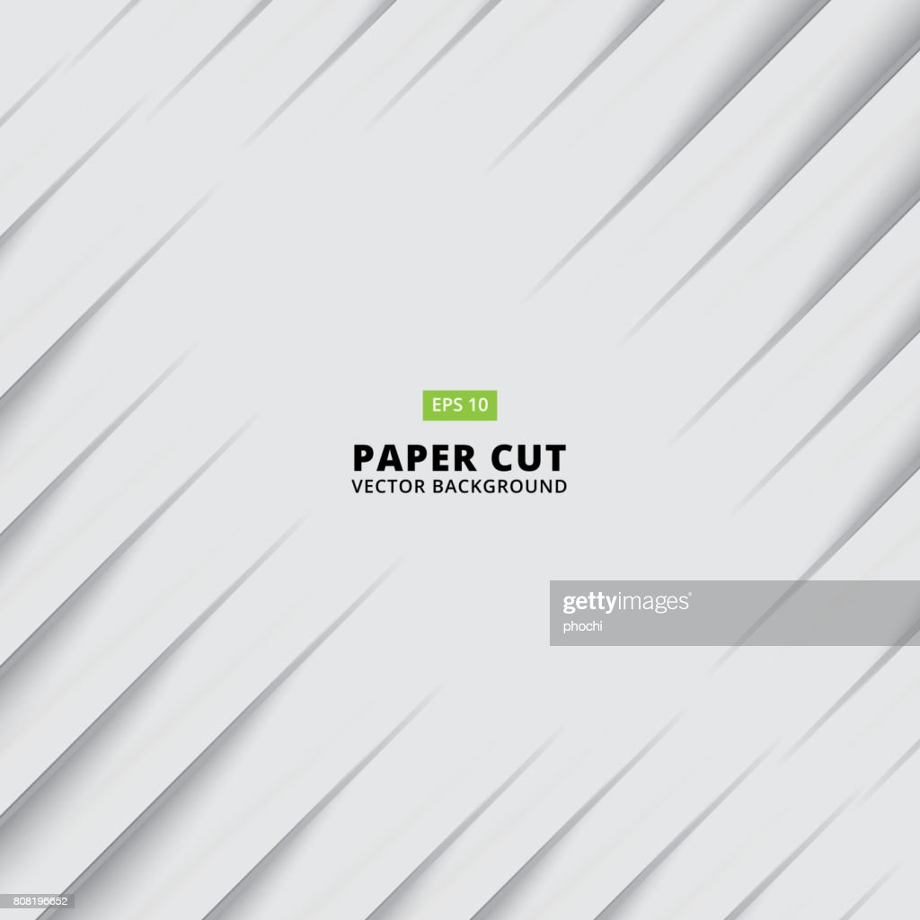 Abstract siagonal paper cut with shade light white background, Vector