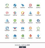 Abstract sign set for business company. Network, social media and