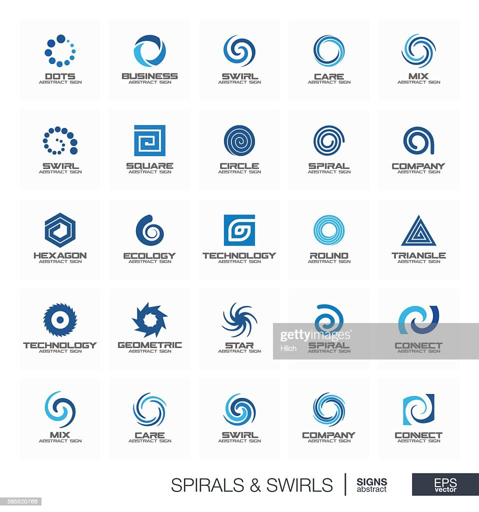 Abstract sign set for business company. Wave, circle, spring, rotation