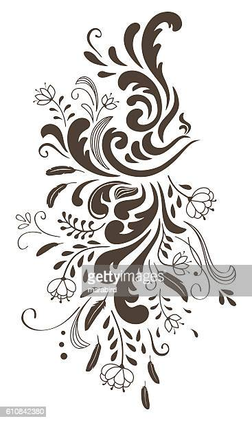 Abstract silhouettes of dark brown bird-flowers