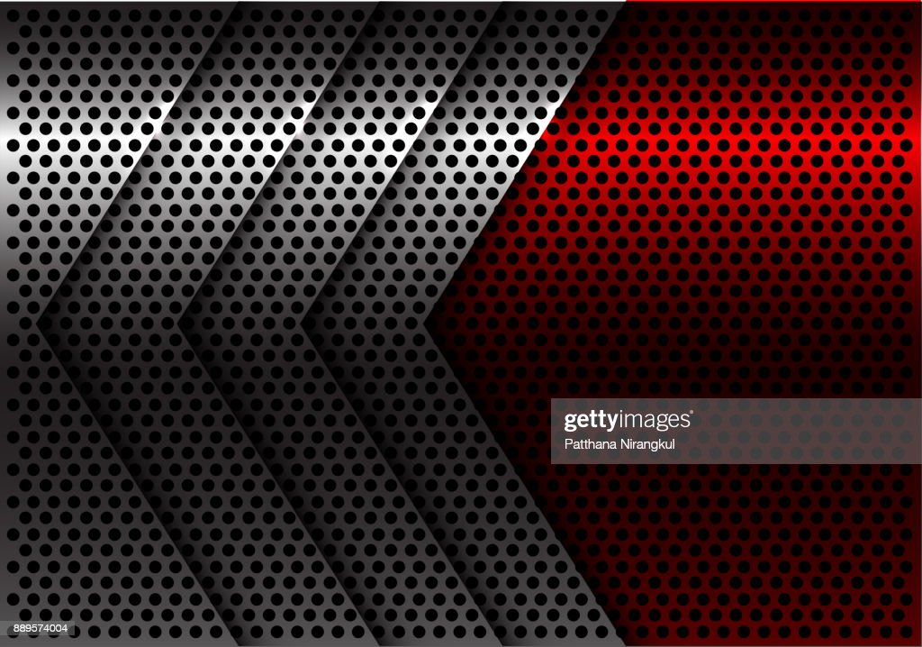 Abstract silver arrow red circle mesh design modern futuristic background vector illustration.