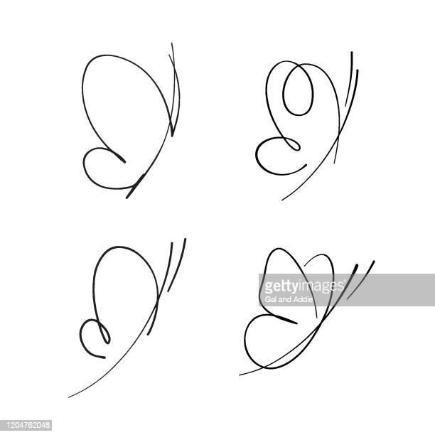 abstrakte skizzen von schmetterlingen - schmetterling stock-grafiken, -clipart, -cartoons und -symbole