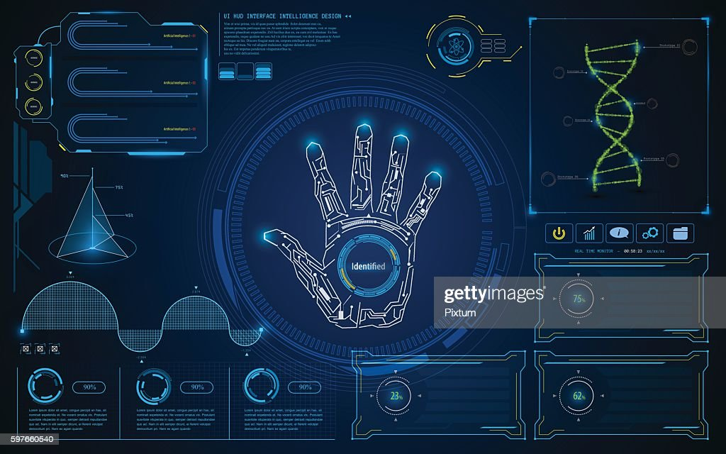 abstract smart intelligent UI HUD interface screen future concept background
