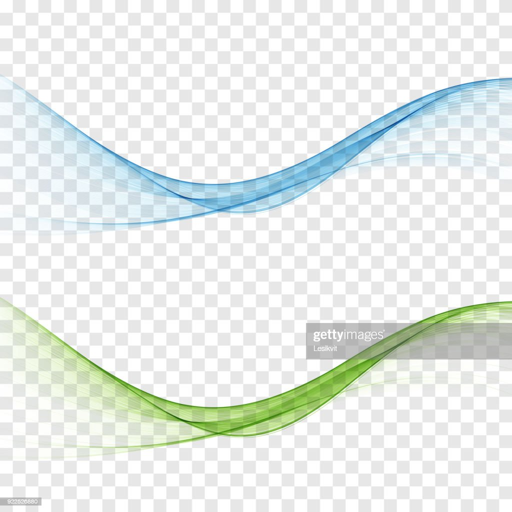 Abstract smooth color wave vector set on transparent background