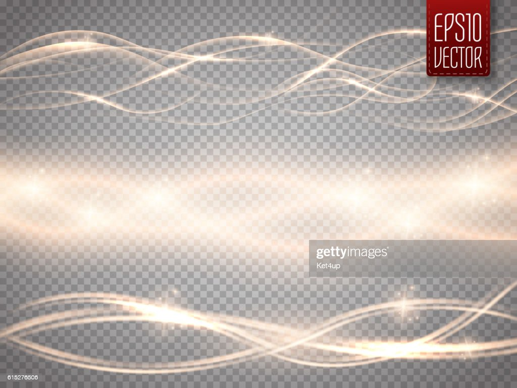 Abstract smooth glow light wave vector set on transparent background