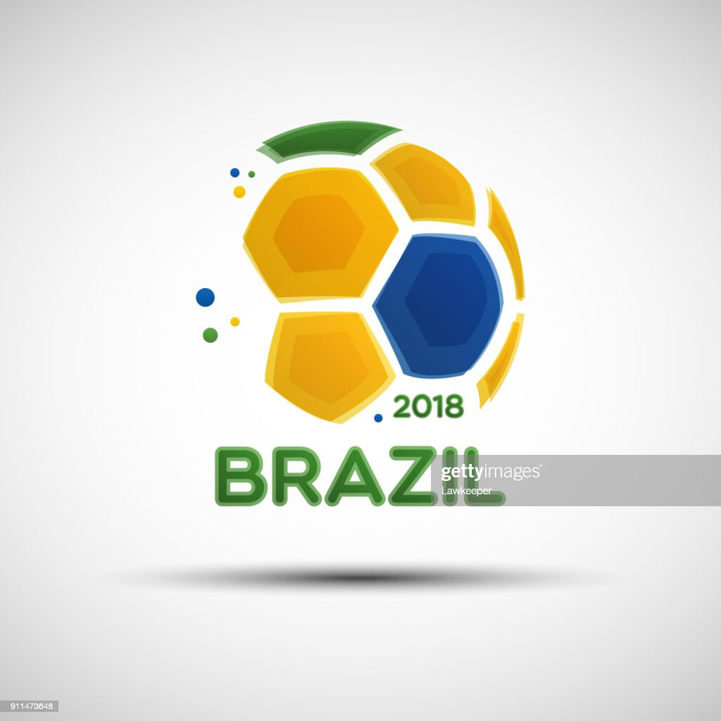 Abstract soccer ball with Brazilian national flag colors