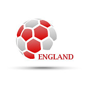 abstract soccer ball with England flag colors