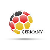 abstract soccer ball with Germany flag colors