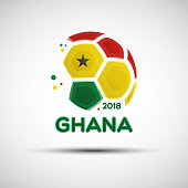 Abstract soccer ball with Ghanaian national flag colors