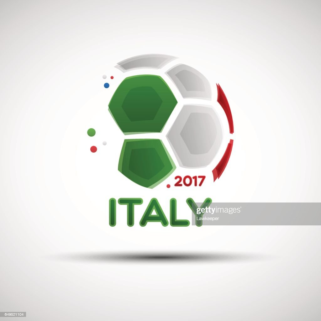 Abstract soccer ball with Italian national flag colors