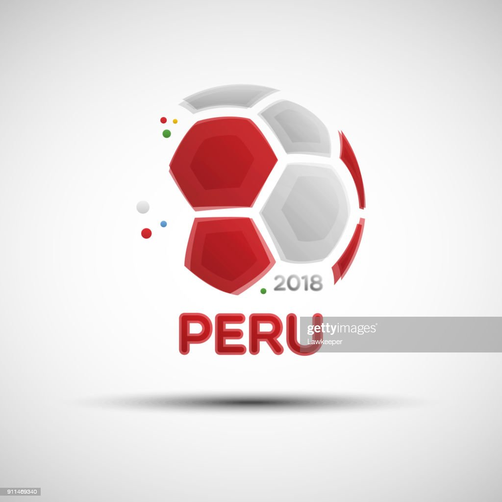 Abstract soccer ball with Peruvian national flag colors