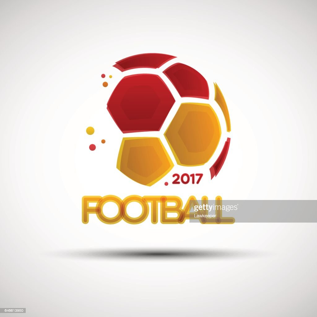 Abstract soccer ball with Spainish national flag colors