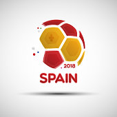 Abstract soccer ball with Spanish national flag colors