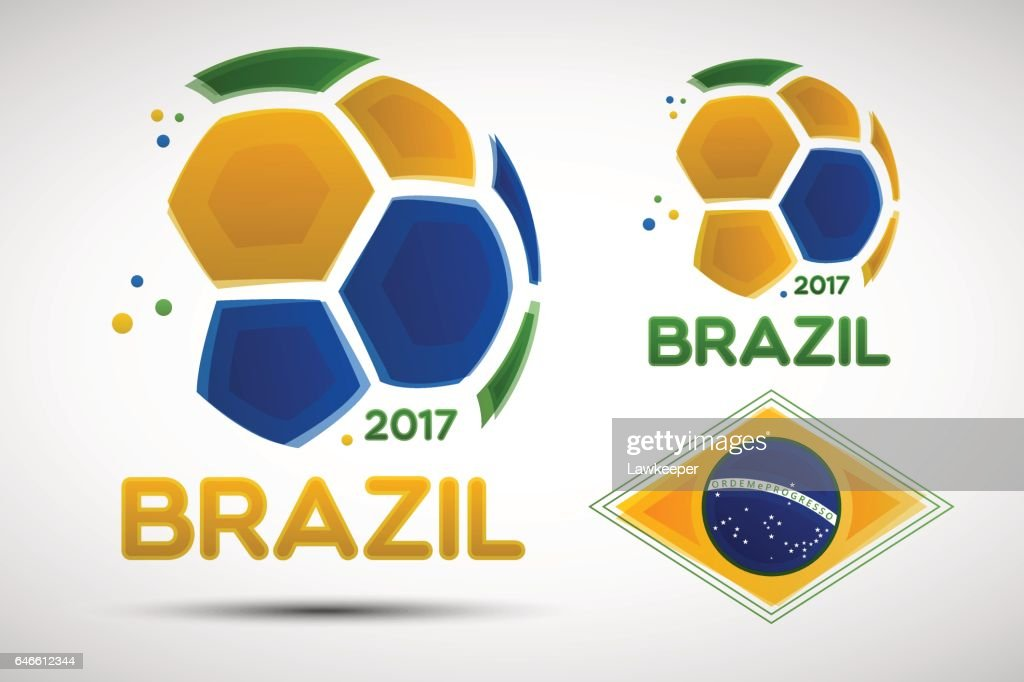Abstract soccer balls with Brazilian national flag colors