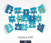 Abstract social background, connected color puzzles, integrated people flat icons