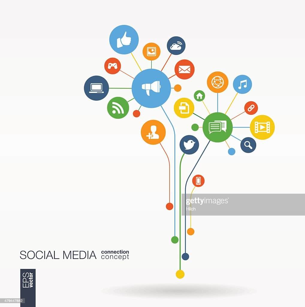Abstract social media background with lines, connected circles, flat icons.