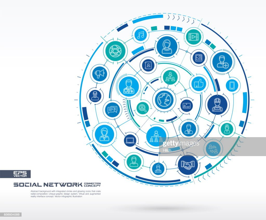 Abstract social network background. Digital connect system with integrated circles, glowing thin line icons. Virtual