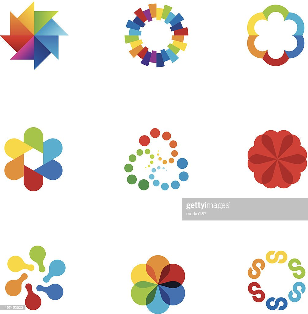 Abstract social partnership community company bond colorful app logo icons