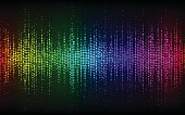 Abstract Sound Wave Background.Digital energy sound music equalizer with colored rainbow lights backdrop.Vector illustration EPS 10
