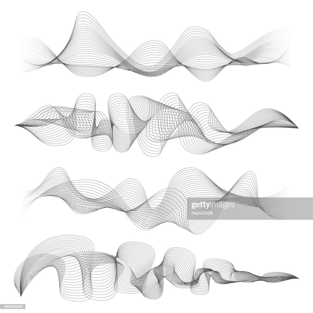 Abstract sound waves isolated on white background. Digital music signal soundwave shapes vector illustration