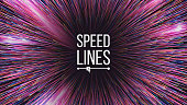 Abstract Speed Lines Vector. Motion Effect. Motion Background. Glowing Neon Composition. Illustration