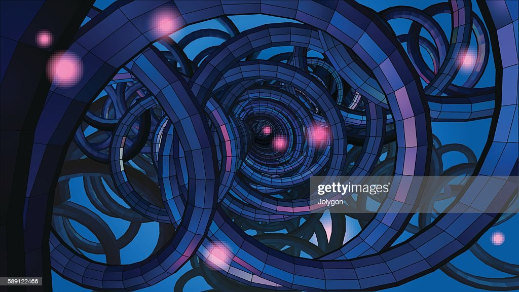 Abstract spiral wire background with technology or sci fi concep