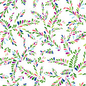 Abstract spot floral seamless pattern. Branch with leaves orname