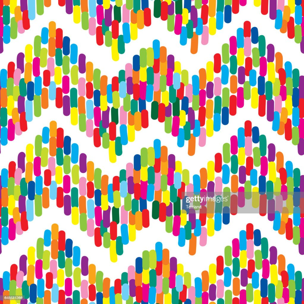 Abstract spot seamless pattern with dot zig-zag ornament