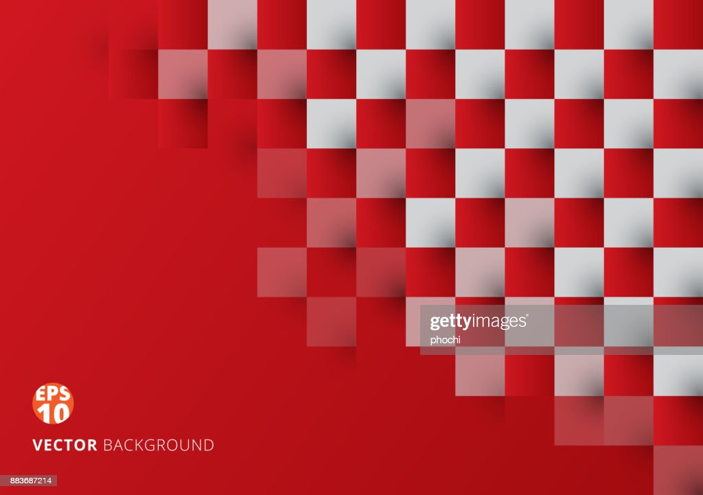 Abstract square red and white geometric pattern background with copy space. Chessboard.