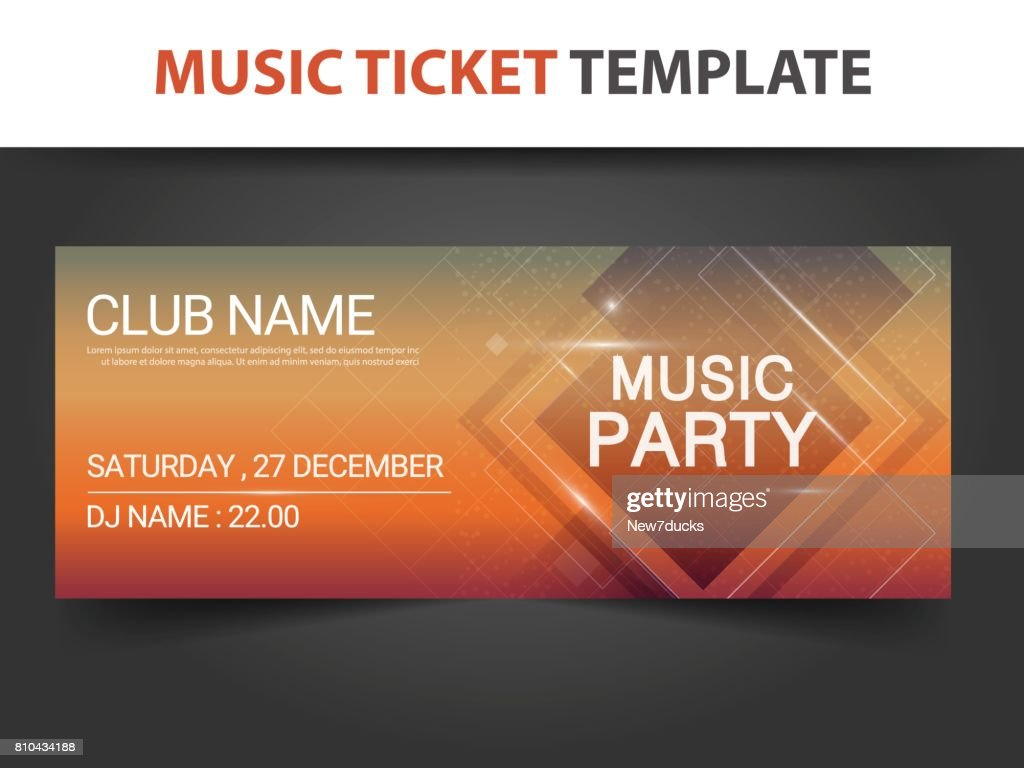 Abstract square shape Music ticket template for concert and music