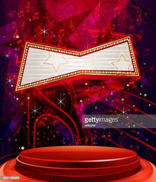 abstract stars music background with glossy stage and marquee display - tempo stock illustrations