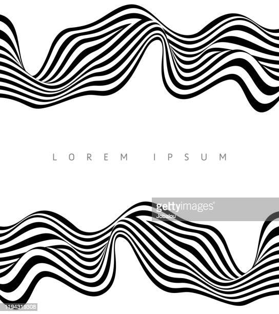 abstract stripe wave black and white background design - wave pattern stock illustrations