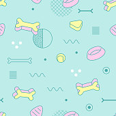 Abstract Style Seamless Pattern with Geometric Shapes and Dog Food. Vintage 80-90s Fashion Trendy Composition for Wallpaper, Poster, Banners, Cover Design. Vector illustration