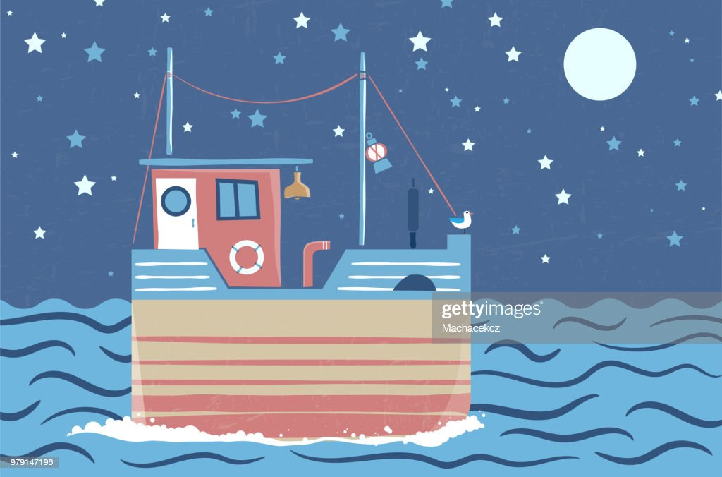 Abstract stylized drawing of ship at sea under night sky