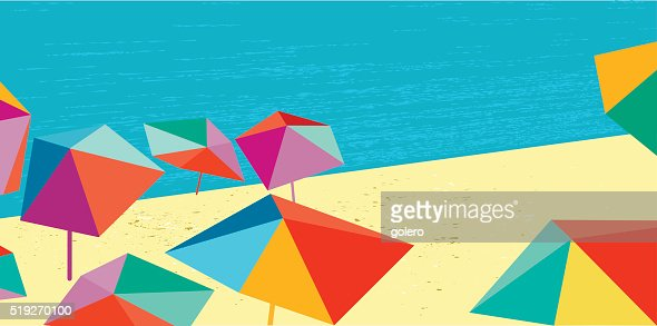 abstract summer beach illustration banner in retro colors