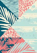Abstract summer composition with hand drawn vintage texture and geometric