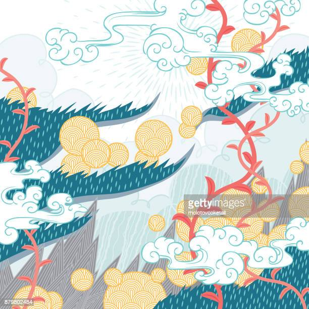 abstract summer nature pattern - surrealism stock illustrations