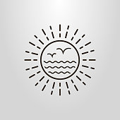 abstract sun, sea and seagull icon