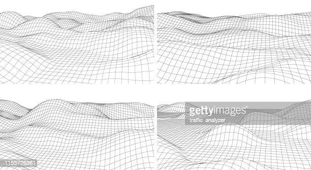 abstract surface background - wire frame model stock illustrations