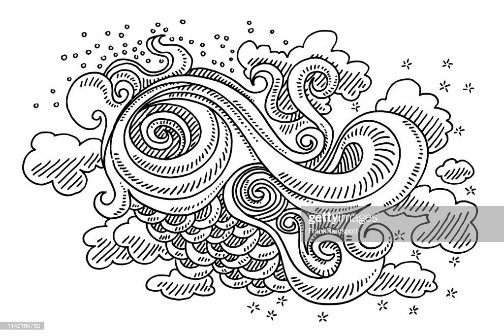 Abstract Swirl Doodle Organic Shapes Drawing Stock