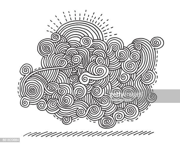 Abstract Swirl Doodle Sun Drawing